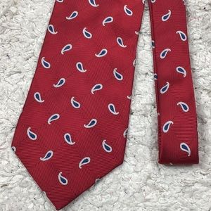 Christian Dior red silk paisley tie